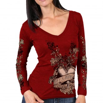Hot Leathers Sugar Paisley Womens Long Sleeve Shirt Indy Red, Large